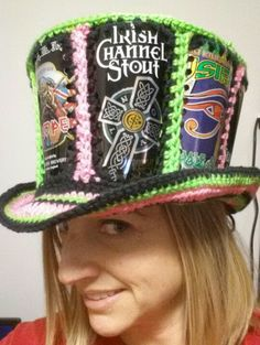 Crochet beer can hat. Mad hatter style. Fishlips the mad hatter on Facebook.