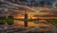 Kinderdijk Magic - A beautiful sunset at Kinderdijk about 2 weeks ago..........