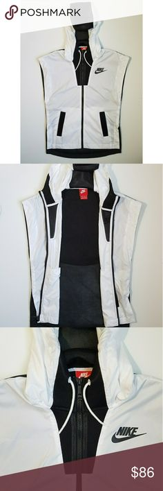 NIKE Tech Hypermesh Women's Vest This Fits Very Oversized, With A Boxy Shape (larger than XS)  White And Black Color Block Zip-Up Vest, In Wind Breaker And Mesh Materials From Brand Nike; Comes In Good Condition Without Tags  Length - 26 inches Width - 16 inches   FLAWS: Minor Dirt Marks On White Fabric (unsure if stains)  A2 Nike Jackets & Coats