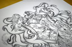 Draw Lions Heraldic Rampant Lion Tattoo Design - Designing a custom heraldic shield tattoo design with time lapse video. Featuring a Falcon, Wolf and of course a Lion Rampant in the form of a coat of arms. Music Tattoos, Arrow Tattoos, Feather Tattoos, Leg Tattoos, Father Son Tattoo, Tattoo For Son, Tattoo Arm Designs, Lion Tattoo Design, Classy Tattoos For Women