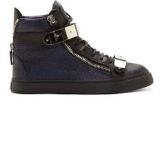 Giuseppe Zanotti Navy Croc-Embossed Leather High-Top Sneakers