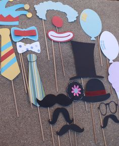 circus clown photo booth props by flutterbugfrenzy on Etsy, $23.00