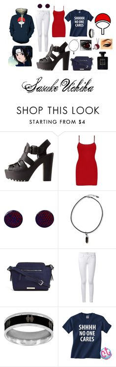 """Sasuke Uchiha -female- Casual Set #1"" by raviolli-and-the-jaegerbomb ❤ liked on Polyvore featuring Charlotte Russe, BKE, Liz Claiborne, Frame Denim, West Coast Jewelry and Chanel"