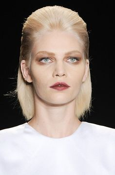 Matte burgundy lips and a brown shadow hairstyle at Cushnie et Ochs