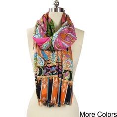 This gorgeous scarf from Saachi featuring intricate all-over paisley design with gorgeous coloring is crafted in China from viscose.