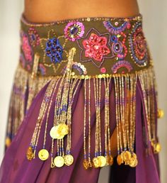 Perfectly Beautiful Belly Dance belt beaded sequined in brown pink purple and gold $145