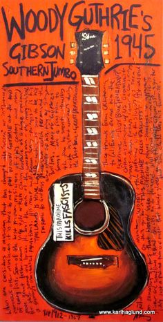 Woody Guthrie Gibson SJ acoustic guitar art by KarlHaglundArt, $20.00