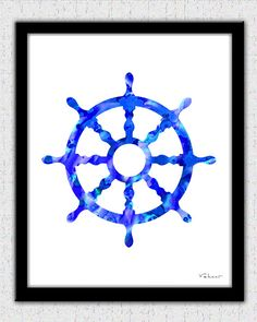 Blue nautical print set compass waterclolor by FluidDiamondArt