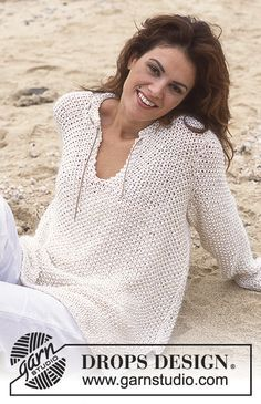 "Ravelry: Pullover in ""Cotton Viscose"" and ""Vivaldi"" pattern by DROPS design Sweater Knitting Patterns, Cardigan Pattern, Loom Knitting, Knit Patterns, Free Knitting, Clothing Patterns, Jumper Patterns, Crochet Woman, Knit Crochet"