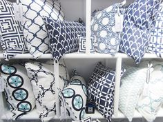 I got the blues....pillows in a variety of blues and white by Cococozy