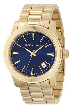 Michael Kors 'Clean Navy Dial' Bracelet Watch $250