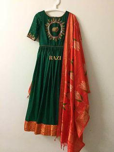 Pure silk dress with ikkat dupatta made on order..   For any customised orders,pls contact on whatsapp +919573863318