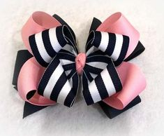 Navy Striped Bow Pink and Blue Bow Boutique hairbows Layered Bows Striped Nautical Bow Stacked Hair Bows Baby Bows Toddler Bows Blue Big Hair Bows, Ribbon Hair Bows, Making Hair Bows, Diy Ribbon, Bow Hair Clips, Ribbon Flower, Stacked Hair, Layered Hair, Hair Bow Tutorial