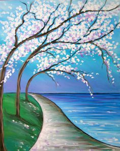 SOLD OUT - In Full Bloom - the formula for a perfect walking path: green grass, blossoms, and lakeside! on Sunday, 06/28/15 from 1-3:30PM at Muse Paintbar in West Hartford, CT