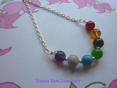 Chakra necklace with natural 8 mm gemstone beads #117
