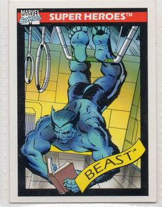 """Beast is part of the Marvel Comics Cards 1990 """"Super Heroes""""set. This is the original card. The Sports trading card number is Marvel Comics Cards 1990 """"Super Heroes"""". Black Cat Marvel, Marvel Vs, Marvel Heroes, Spiderman Cards, Marvel Cards, Marvel Comic Books, Comic Books Art, Book Art, Man Beast"""