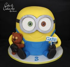 Minion Bob cake and his teddy bear