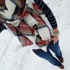 Wear It For Less // Navy striped sweater + white puffer vest + plaid scarf
