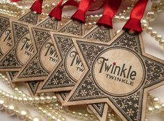 Christmas Star Gift Tags - Vintage Style Tag - Set of 5 - Bright Red Ribbon Holiday Labels on Etsy, $7.50