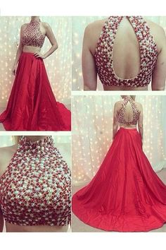 two pieces prom dress, long prom dress, red prom dress, beaded prom dress, charming evening gown, BD48