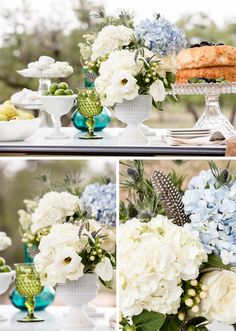 Love the rustic wedding! The feathers with the fav. hydrangeas are beautiful!