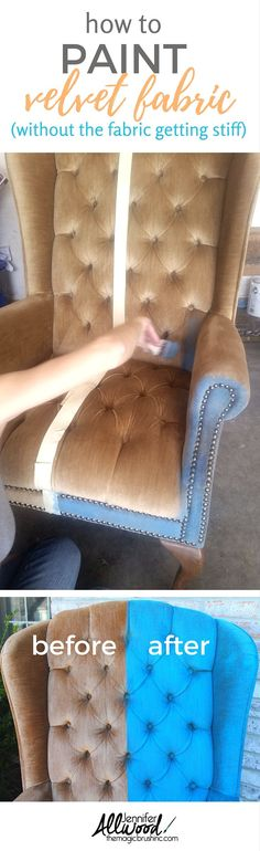 Here's how to a paint fabric chair without the fabric getting hard and stiff. You can paint velvet upholstery easily with my tips and this FABulous product - Fab!   Painting tips, DIY projects from theMagicBrushinc.com #ChairMakeover Painting Fabric Furniture, Paint Upholstery, Furniture Upholstery, Paint Furniture, Fabric Painting, Diy Painting, Paint Fabric, Furniture Outlet, Upholstery Repair