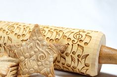 Crazy notes - Embossed, engraved rolling pin for cookies