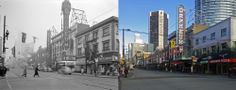 The Orpheum Theatre circa 1946 in comparison to a more recent image. Vancouver, Theatre, Street View, History, Architecture, Image, Arquitetura, Theater, Historia