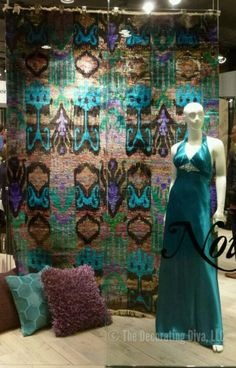 Nourison Rug's window vignette showcasing hues of turquoise, purple, and brown.   The Decorating Diva, LLC