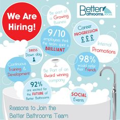 With a wealth of jobs on offer at Better Bathrooms, we're on the hunt for hard working, reliable and positive individuals! If you fit the bill then email your details to Jobs@betterbathrooms.com
