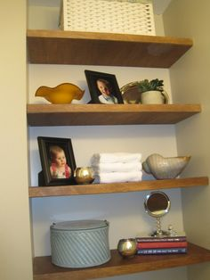 recessed walls with floating shelves
