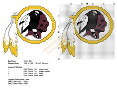Washington Redskins NFL team free cross stitch pattern
