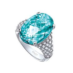 Paraiba Tourmaline Rings | 18K White Gold Paraiba Tourmaline and Diamond Ring