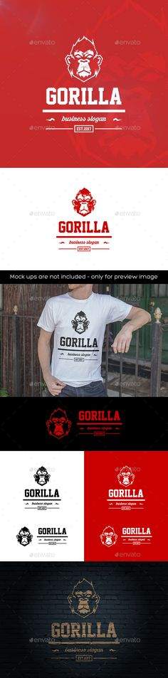 Gorilla Logo - Animals Logo Templates Download here : https://graphicriver.net/item/gorilla/20505849?s_rank=206&ref=Al-fatih