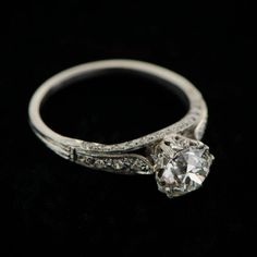 Amazing! Wow! A stunning engagement ring set with a beautiful old European cut diamond. The most gorgeous Engagement Ring.