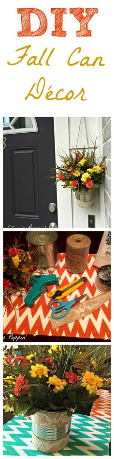 This beautiful DIY Fall Can Décor is the perfect way to add a pop of Fall colors to the outside of your home! Or, let the colors of fall transform your dining room table. Either way, you can whip this statement piece out in less than 30 mins and costs right around $10 to make.