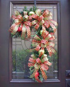 Candy Cane Wreath Christmas Wreath Candy Cane por LuxeWreaths