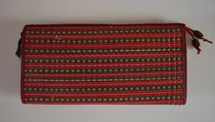 Japanese straw flat wallet or clutch purse, 1980s vintage tatami pouch