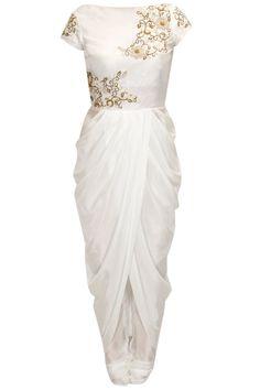 Ivory floral embroidered drape kurta set by Tisha Saksena.       Shop now:  http://www.perniaspopupshop.com/designers/tisha-saksena  #shopnow #perniaspopupshop #tishasaksena