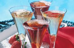 Strawberry Kir Royale:  1/2 cup Ocean Spray® White Cranberry and Strawberry Juice Drink *2 tablespoons strawberry schnapps or liquor *1/4 cup champagne, chilled