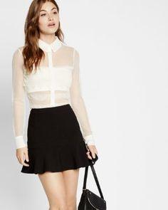 sheer mesh and lace long sleeve shirt