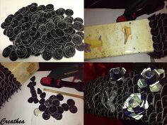 Nespresso:Portabottiglia da 2 lt,usato 480 cialde nere e 30 celesti e blu per le rose