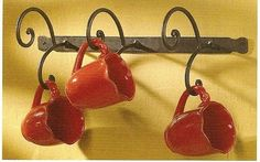Country hand forged Iron Mug Rack - above coffee counter Coffee Mug Wall Rack, Mug Rack, Coffee Mugs, Wrought Iron Decor, Mug Holder, Wall Racks, Wall Hanger, Forging Metal, Mediterranean Decor