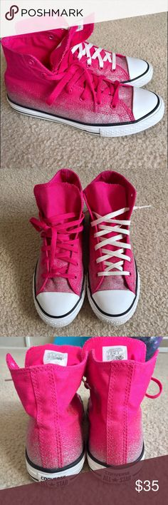 "LIKE NEW✨Converse Hot Pink with Silver Glitter AWESOME hot pink and silver glitter fade high top Converse! They're a ""big kid"" size 6 which will fit a women's 8-8.5. Like brand new condition! Worn maybe once or twice! May just need new shoe laces Bc I switched them but there no noticeable wear! 💖15% off 2+item bundles🛍 Small surprise with each purchase 🌟 Converse Shoes Sneakers"
