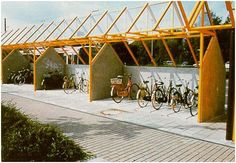 Example of bicycle shelters located at a transit station in Germany.