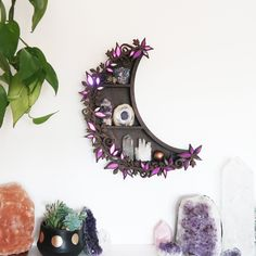 We make crystal shelves in all different shapes and sizes incorporating spiritual symbols and sacred geometry to allow you to create a magical sacred space in your home! Crystal Shelves, Crystal Wall, Crystal Cluster, Tinted Mirror, Rose Gold Mirror, White Wall Lights, Displaying Crystals, Oak Color, Colour