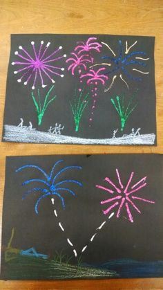 Oil pastels and glitter glue to create a fireworks scene