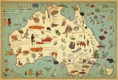 This playful hand-drawn map of Australia by graphic designers Aleksandra Mizielinska and Daniel Mizielinski is intended for younger audiences, and it spotlights exactly what most kids want to know about a country: its unique animals and weird foods. Gizeh, World Street, Street Art, World History Lessons, Art Carte, Pictorial Maps, Map Globe, Australia Map, Map Design