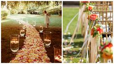 Petal aisle inspired by: Martha Stewart Weddings Ribbon aisle décor inspired by: Style Unveiled