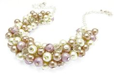 Pearl Bridesmaid Jewelry Pearl Cluster Necklace by crystaljemscouk
